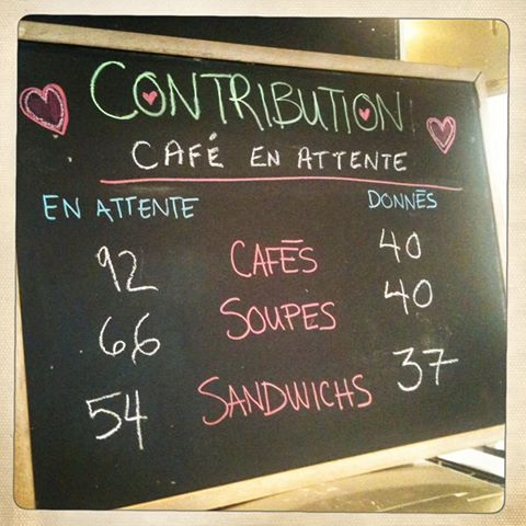 café suspendu, soupes suspendues, et sandwich suspendu