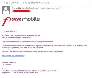 Tentative de phishing sur le compte Free